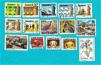 ZIMBABWE GOOD LOT OF 15 USED STAMPS. lot#555