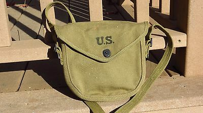 Original WWII US Army Thompson Drum Carrying Pouch Bag + Shoulder Strap