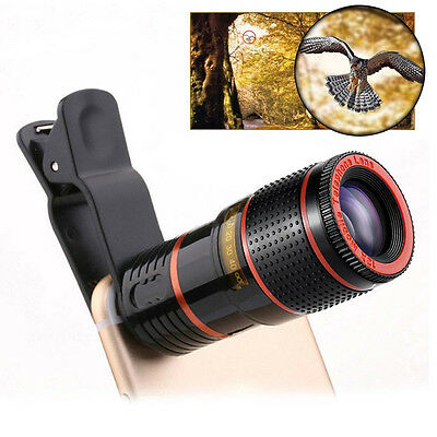 12x Zoom Telescope Camera Lens Clip On Binocular Photography For iPhone Samsung