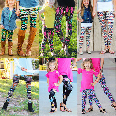 Spring Winter Warm Womens Kids Girls Knitted Cotton Blend Soft Leggings Pants