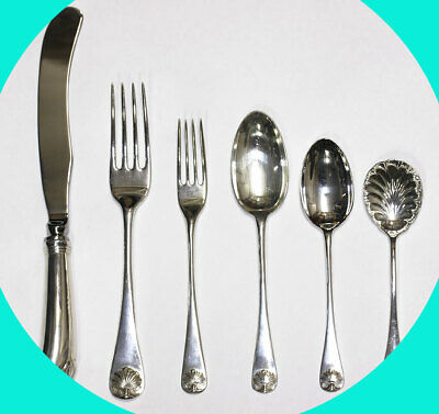 "Kirk Stieff Williamsburg Restorations ""Shell"" sterling silver flatware set 41pc!"