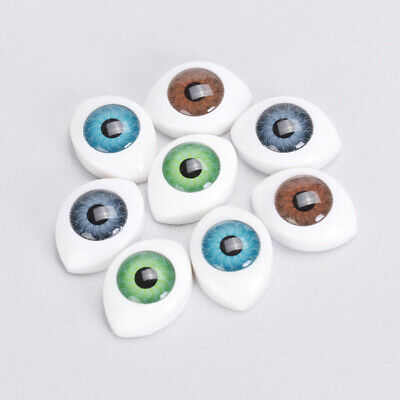4 Pairs of 10mm Oval Hollow Back Plastic Eyes For Dolls Mask DIY Making