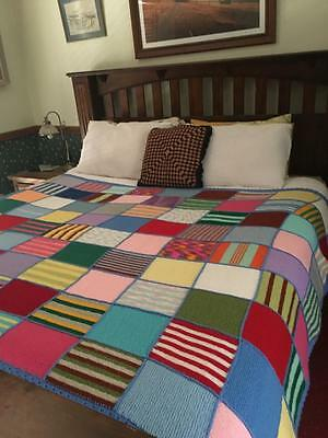 Vintage Hippy Harlequin Beautiful Crochet/knitted Soft Wool Blanket Coverlet