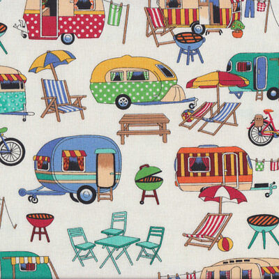 Retro Caravans on White BBQ Deck Chairs Outdoors Quilting Fabric FQ or Metre *Ne