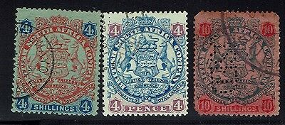 Rhodesia 3 Issues 1896 Used -  Lot 010216