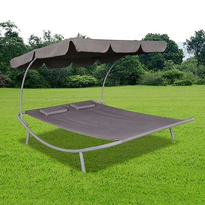 Outdoor Double Tanning Sun Bed Canopy Brown Garden Lounger Recliner Daybed