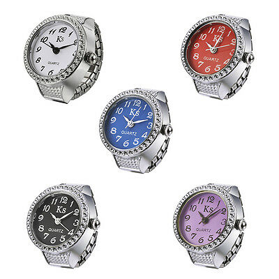 Hot Sale Useful Quartz Watch Inlaid Rhinstone Multi-Colored Dial Watch Ring