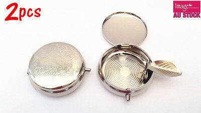 2x Mini Ashtray Pocket Ashtray Portable Iron Plating Round Ashtray