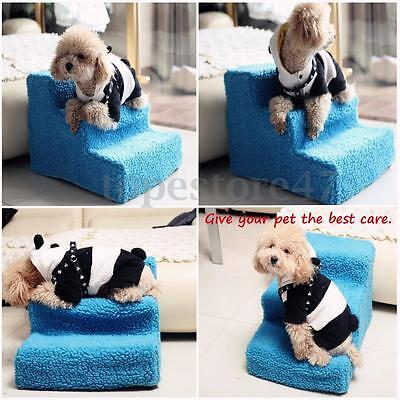 Dog Puppy Cat Folding Ladder 3 Steps Doggy Pet Soft Stairs Ramp Washable Cover