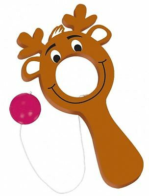 12 REINDEER CHRISTMAS PADDLE BALL GAMES Festive Fun Stocking Filler Game 92674