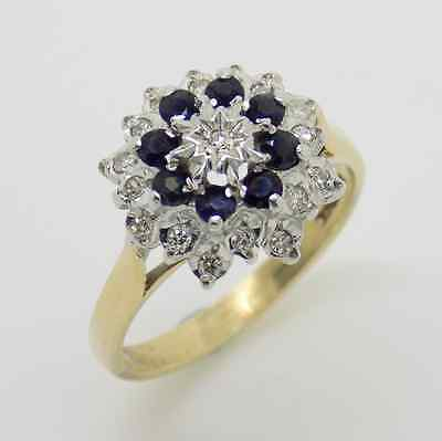 9ct Yellow Gold Sapphire & Diamond Flower Style Cluster Ring - Size N