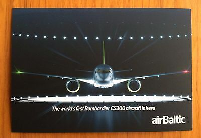 NEW !  airBaltic Latvian Airlines Bombardier CS300 Advertising Postcard