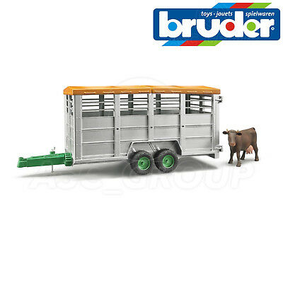 Bruder Toys 02227 Twin Axle Catle Livestock Trailer Cow 1 16 Scale