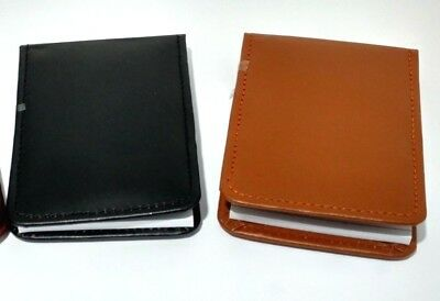 Stylish Leather Pocket Mini Note Pad Cover With Ruler Pad In Black & Brown