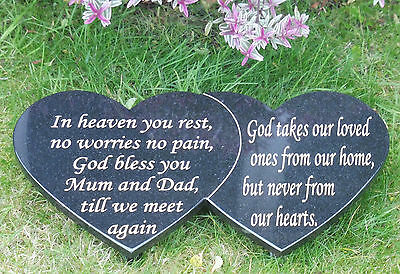 Double Heart Grave Marker Memorial Stone, ( Personalised To Your Requirements)