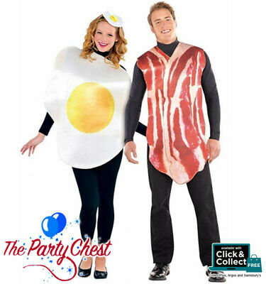 ADULT BREAKFAST BUDDIES COUPLES COSTUMES Bacon and Egg Fancy Dress Outfit 44276