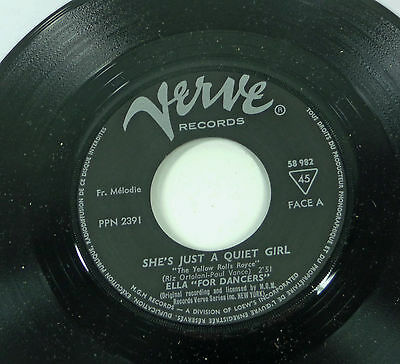 "ELLA FITZGERALD ""She's Just A Quiet Girl"" french 60s Verve 45 ELLA FOR DANCERS"