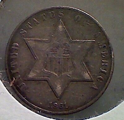 1861 3CS Three Cent Silver ,  nice XF