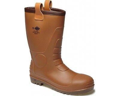 Dickies Groundwater Safety Super Mens Brown Pull On Wellingtons Boots UK6-12