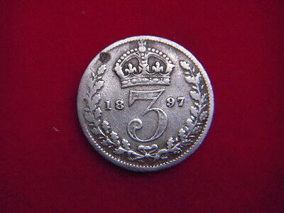 1897 Victorian  Silver Threepence  From My Collection [F26]