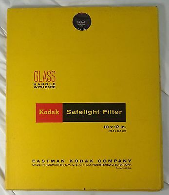 "Kodak safelight glass filter 10x12"" Wratten No.1A Red darkroom photography"