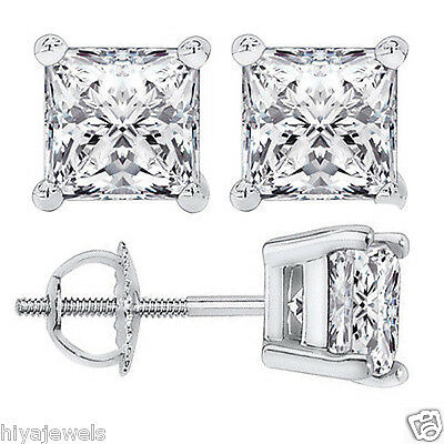 2 Ct Princess Brilliant Cut Diamond Stud Earrings 14K White Gold Over