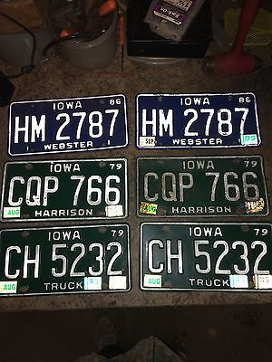 VINTAGE 3  PAIR Lot Of IOWA LICENSE PLATES AUTO CAR TAG  LOT OF 6