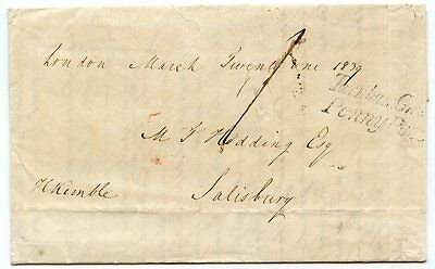"""1839 cover to Salisbury, rated at """"1"""" with rare """"Turnham Green/ Penny Post"""""""