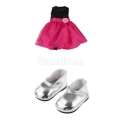 """Handmade Party Outfits For 18"""" American Girl Doll Pretty Dress + Silver Shoes"""