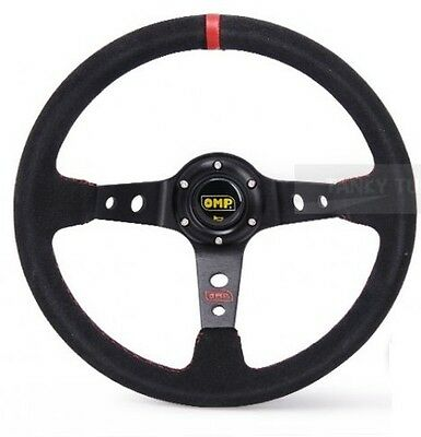 """OMP Red 350mm 3"""" Deep Dish Suede leather Racing Steering Wheel Sport Race Drift"""