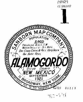 Alamogordo, New Mexico~Sanborn Map© sheets ~made~ 1921 with 5 maps CD~