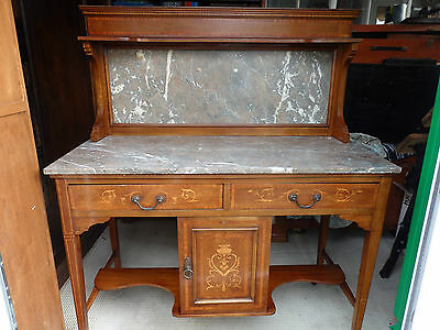 Exceptional Quality Antique Grey/Red Marbled & Quartz  Highly Inlaid Washstand,