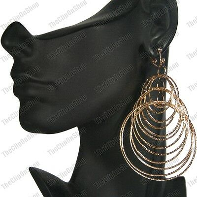 """CLIP ON 4""""long multiple HOOP EARRINGS gold plated textured HOOPS concentric"""