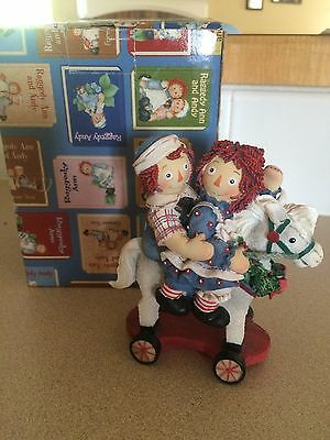 """Raggedy Ann and Andy """"More fun we give each other"""" ENESCO Rocking horse Figurine"""