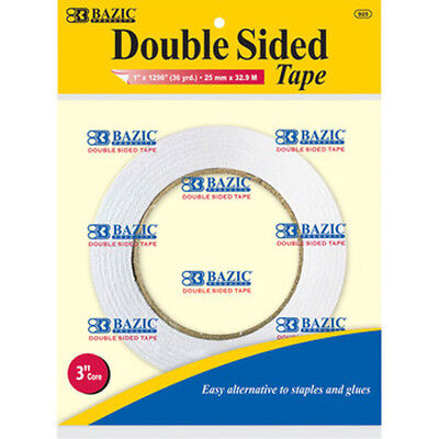 Double Sided Tape 1 inch X 36 Yards  Acid Free  3 inch core  Permanent Adhesive