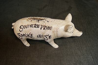 SOUTHERN PRIDE SMOKE HOUSE CAST IRON PIG BANK Raised RED Letters