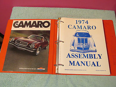 1974 Camaro Assembly Manual Book Z28 Instructions Chevrolet guide car brochure