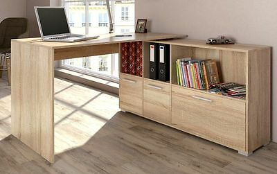 Large Office Desk Executive Oak Corner PC Computer Table Sideboard Unit Wood