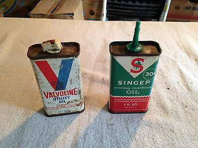 """2 Vintage oil cans valvoline utility / Singer Sewing Machine Oil appr. 4"""" tall"""