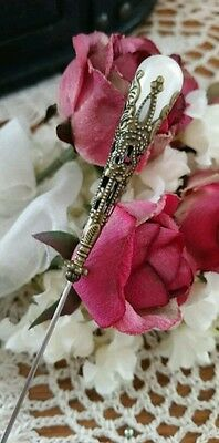 Victorian Hat Pin Vintage Inspired Pearl Beads & Antique Brass Fittings. Strong