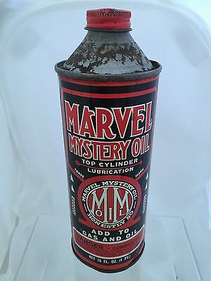 Vintage Metal Advertising Tin Cone Top Marvel Mystery Oil