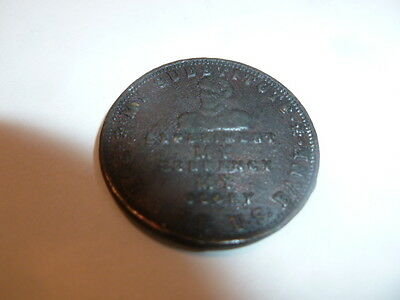"""1824 Hard Times Token Running Boar Credit Perish Commerce """"Down With The Bank"""""""