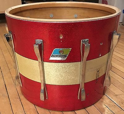 Vintage 1970's Ludwig 12x15 Marching Tenor Tom Drum Shell Red/Silver Sparkle