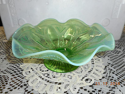vintage Northwood Roulette-Green Opalescent footed Bowl