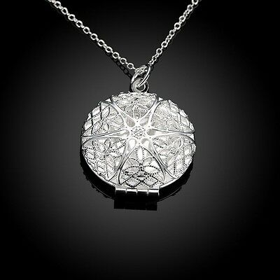 High quality 925 Silver Plated stamped stylish Photo Locket Chain Necklace Gift