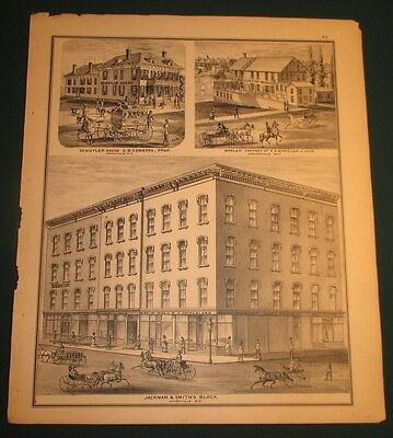 1871 Jackman Smith Block Schuyler House Wheeler Woolen Mill Janesville WI Print