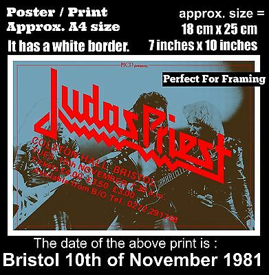 Judas Priest live concert at Bristol 10th of November 1981 A4 size poster print