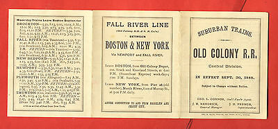 Sept 30 1888 Suburban Trains Central Division Old Colony Rail Road Time Table