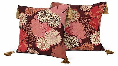 Pair Handmade French Silk Tapestry Pillows; Floral w/tassels by IOSIS Paris MCM