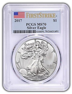 2017 $1 American Silver Eagle PCGS MS70 First Strike Flag Label